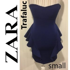 Zara Trafaluc strapless peplum bodycon Royal Blue